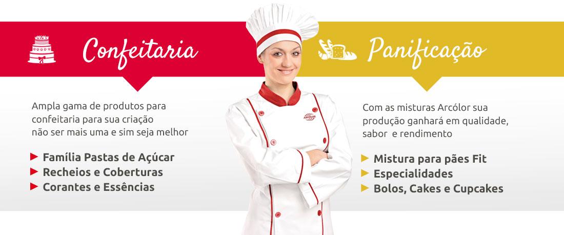Confeitaria: - Família Pastas de Açúcar -Recheios e Coberturas -Corantes e Essências e Panificação: Mistura para pães Fit, Especialidades, Bolos, Cakes e Cupcakes